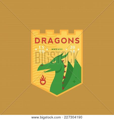 Dragons Medeival Sports Team Emblem. Abstract Vector Sign, Symbol Or Logo Template. Mythical Reptile