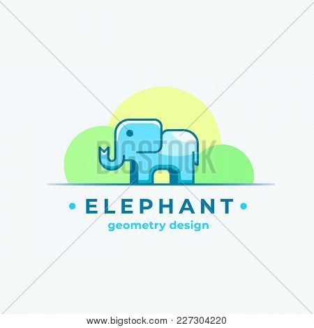 Elephan Geometry Design. Abstract Vector Sign, Symbol Or Logo Template. Colorful Tiny Animal Silhoue