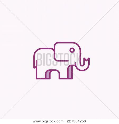 Simple Geometry Elephant Design. Abstract Vector Sign, Symbol Or Logo Template. Line Style Animal Si