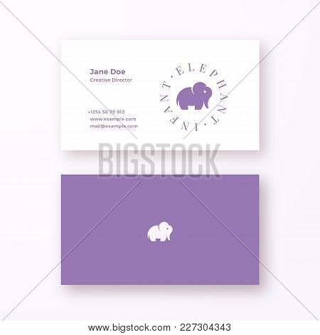 Infant Elephant Abstract Feminine Vector Sign Or Logo And Business Card Template. Premium Stationary