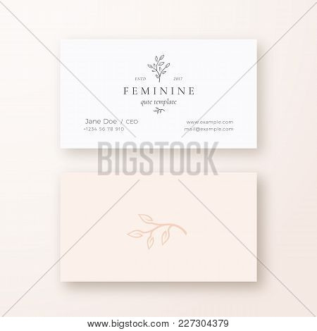Abstract Feminine Leaf Branch Vector Sign Or Logo And Business Card Template. Premium Stationary Rea