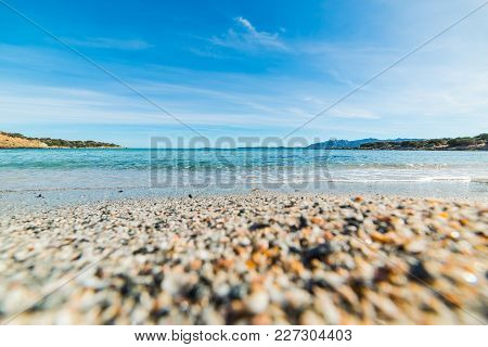 Pebbles In Andreani Cove Seen From The Ground. La Maddalena, Sardinia