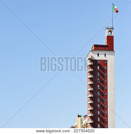 Turin, Italy, May 2011: The Famous Torre Littoria In Turin, Italy. It Is The Tallest Building In The