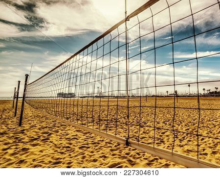 Beach Volley Net In Santa Barbara Shore. California, Usa