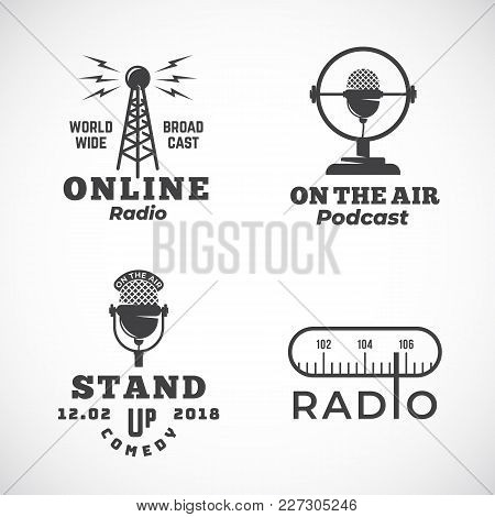 Online Radio And Microphone Abstract Vector Emblems Set. Broadcast Tower, Podcast Or Stand Up Comedy