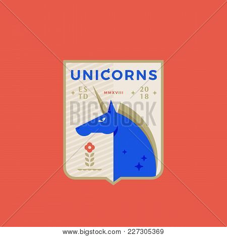 Unicorns Medeival Sports Team Emblem. Abstract Vector Sign, Symbol Or Logo Template. Horned Horse In
