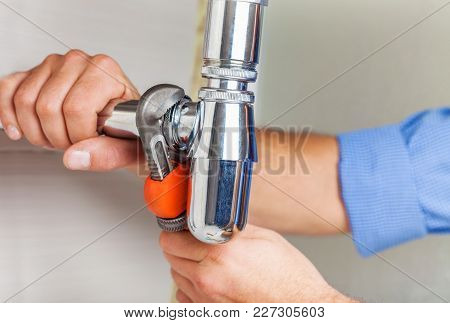 Water Hands Plumber Tap Fix Plumb Closeup