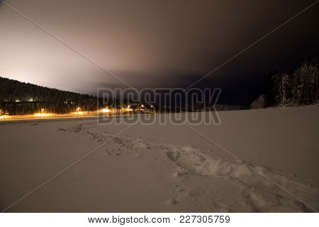 Finnish Winter Illustration, Snow Landscape, Finland Levi