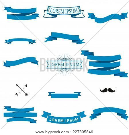 Flat Vector Set Of The Blue Ribbons And Banners. Great Design Element Isolated On White Background.