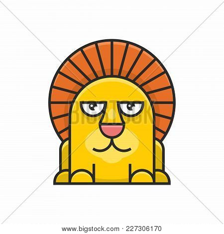 Cute Lion Icon On White Background. Vector Illustration