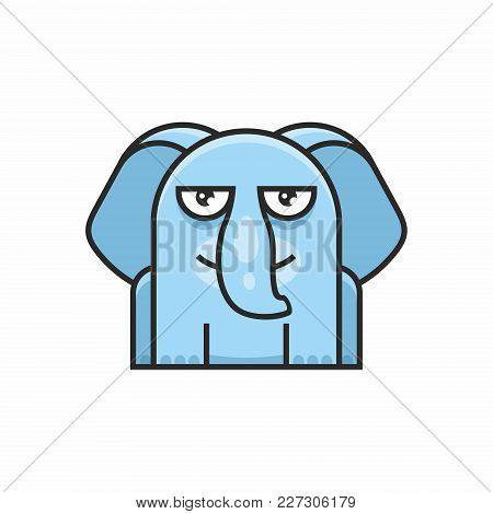 Cute Elephant Icon On White Background. Vector Illustration