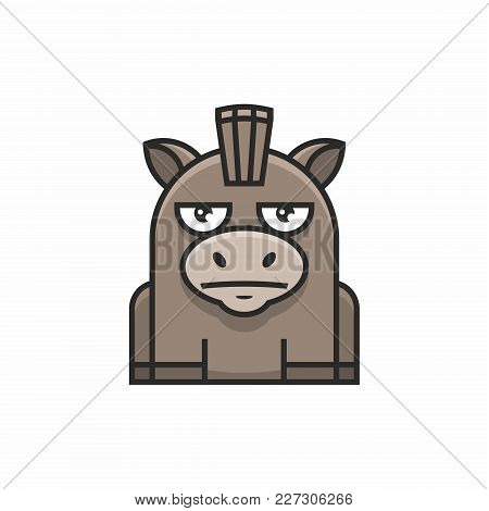 Cute Donkey Icon On White Background. Vector Illustration