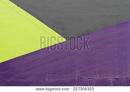 Colorful (black, Violet And Green) Painted Wall With Cracks As Background Or Texture