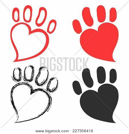 Isolated Pet Paw Hearts Design From White Background