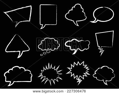 Isolated White Speech Bubbles Outline From Black Background