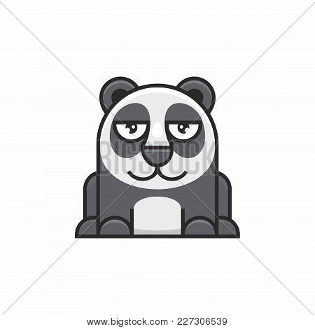 Cute Panda Icon On White Background. Vector Illustration
