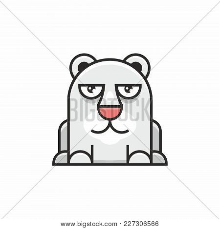 Cute Polar Bear Icon On White Background. Vector Illustration