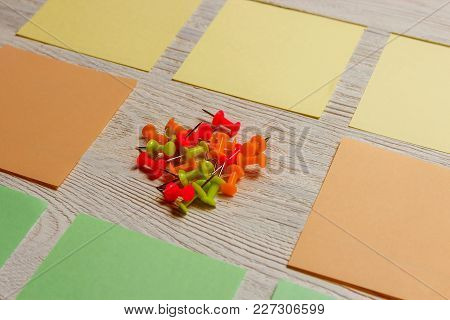 Stationary, Blank Colored Sticker, Pushpins Heap On White Wooden Board. Time-management, Planning