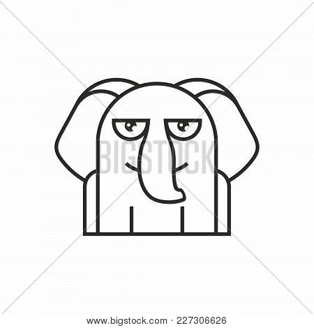 Cute Elephant Icon, Thin Line Style, Flat Design