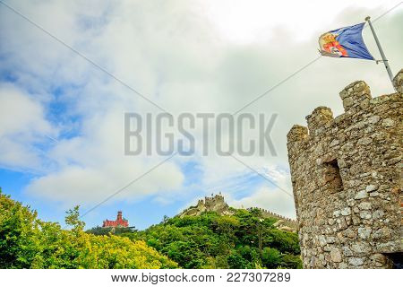 Sintra, Portugal. Pena Palace And Moors Castle Are Popular Landmarks And Major Tourist Attractions O