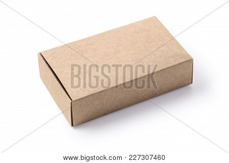 Cardboard Box Isolated On A White Background With Clipping Path