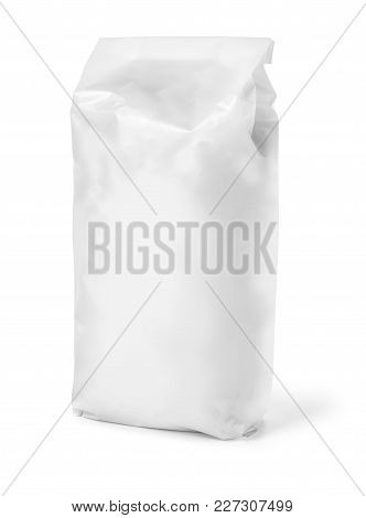 Blank Paper Bag Package Of Flour Isolated On White With Clipping Path