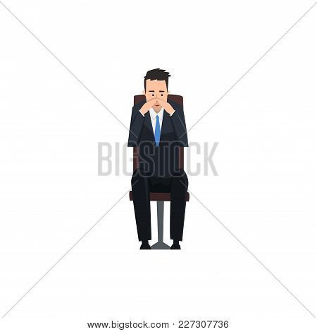 Thoughtful Businessman Or Manager Character Sitting On Office Chair Vector Illustration Isolated On