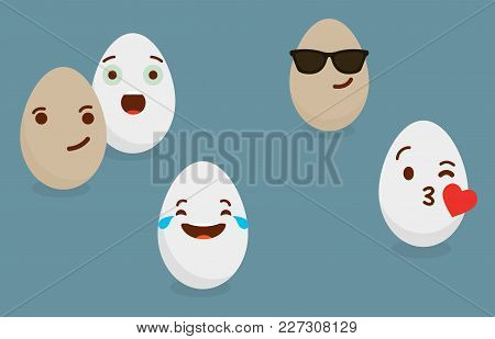 Smiled Eggs Illustration. Vector Isolated Simple Egg Icon. Eggs Emotions.