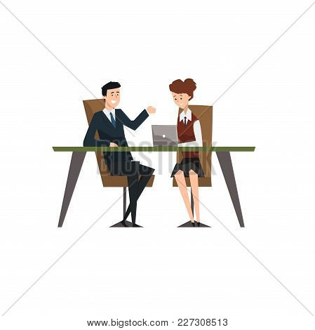 Business People Smiling And Talking At The Laptop At Meeting, Coworking People Characters Vector Ill