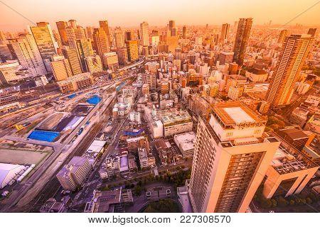 Panoramic View Of Osaka City Central Business Downtown At Sunset. Osaka Skyline From Kita Ward Of Ja