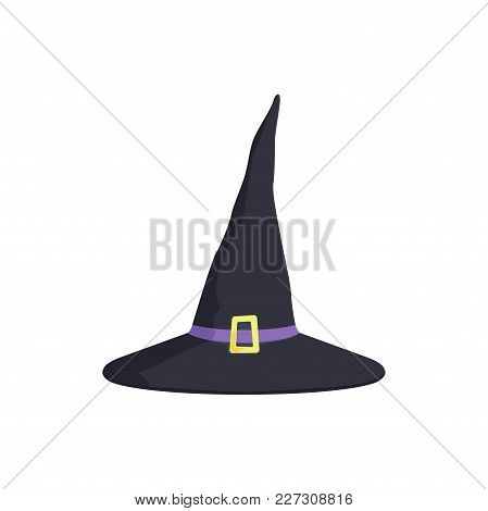 Halloween Witchs Hat With A Gold Buckle, Masquerade Decorative Element Cartoon Vector Illustration I