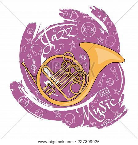 French Horn. Wind Musical Instrument. Jazz Instruments, On An Abstract Red Background. With Addition