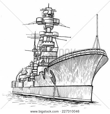Cargo Ship. Warship With A High Mast. Hand Drawing Illustration.