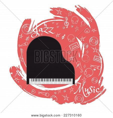 Grand Piano. Stringed-keyboard Musical Instrument. Jazz Instruments, On Abstract Blue Background. Wi