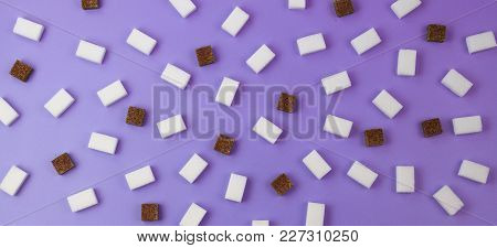 Brown And White Sugar Cubes Pattern On Violet Banner Background
