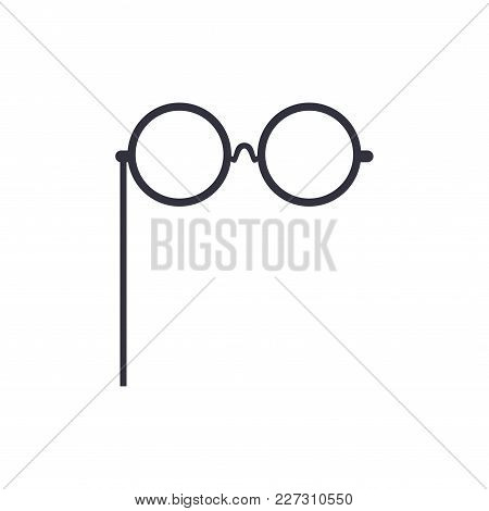 Round Glasses, Party Or Masquerade Decorative Element Cartoon Vector Illustration Isolated On A Whit