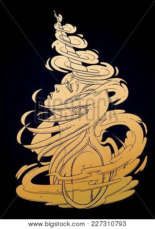 Graphic Unicorn Girl With Long Hairs Surrounded By Magic. Vector Fantasy Art In Golden Colors