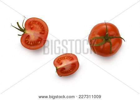 Close-up image of tomato from above, on white background