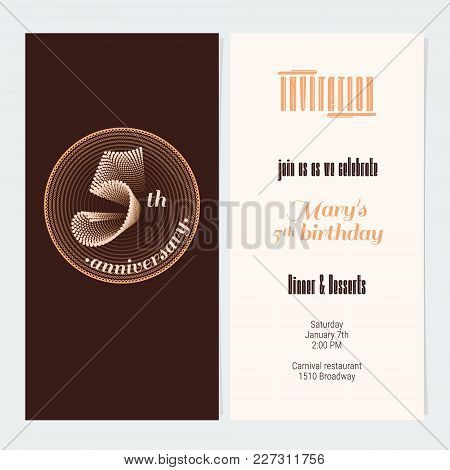 5 Years Anniversary Invitation Vector Illustration. Graphic Design Element For 5th Birthday Card, Pa