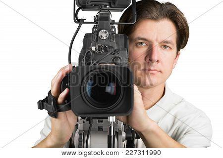 Man Camera Cameraman High Tech Information Technology It Technology Color