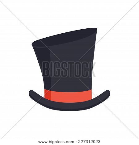 Magic Top Hat, Gentleman Hat Cylinder With Red Ribbon, Masquerade Decor, Carnival Headdress Element