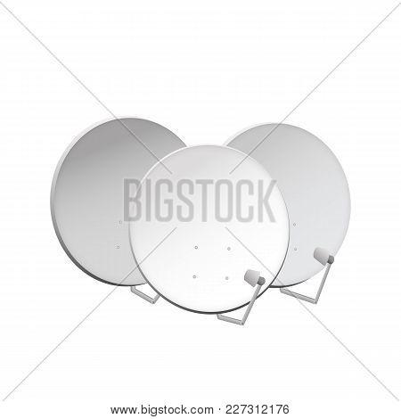 Tv Aerial. Satellite Dish For Digital Connection. Vector Illustration.