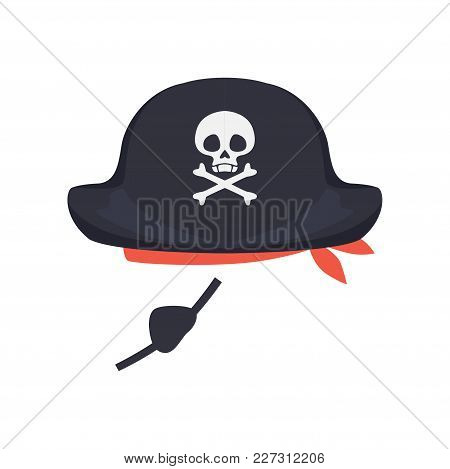 Black Pirate Hat With Skull And Eye Patch, Masquerade Decor, Carnival Headdress Element Cartoon Vect