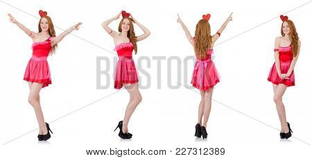 Pretty young model in mini pink dress isolated on white