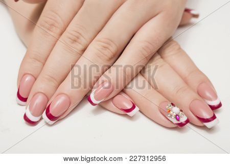 Manicure. White Nails With Red Hearts. Isolated.