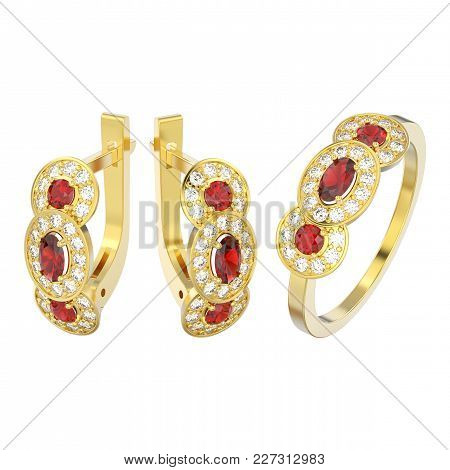 3d Illustration Isolated Set Of Yellow Gold Decorative Diamond Ruby Earrings With Hinged Lock And Th