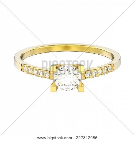 3d Illustration Isolated Yellow Gold Engagement Round Cut Shape Ring With Diamond On A White Backgro
