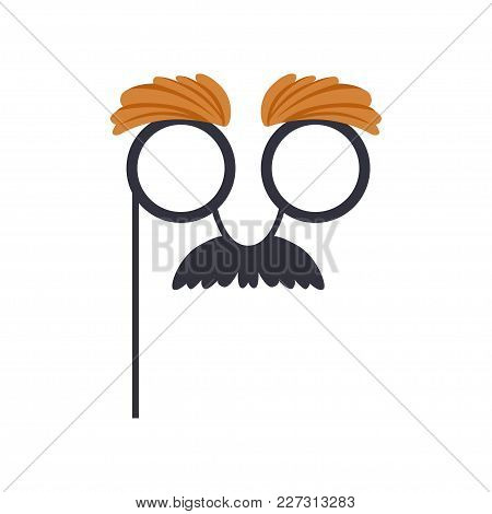 Mustache And Glasses Humor Mask, Masquerade Decorative Element Cartoon Vector Illustration Isolated