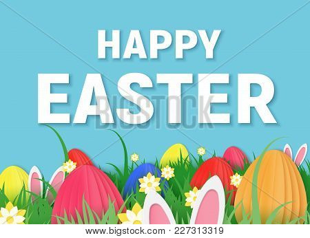3d Abstract Paper Cut Illustration Of Colorful Paper Art Easter Rabbit, Grass, Flowers And Egg Hunt.