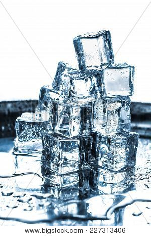 Set Cube Ice Bar Blue Background Solid